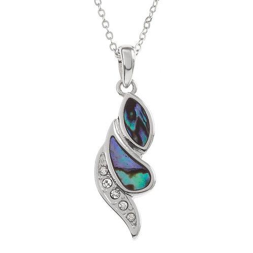 Diamante strip swirl pendant & chain