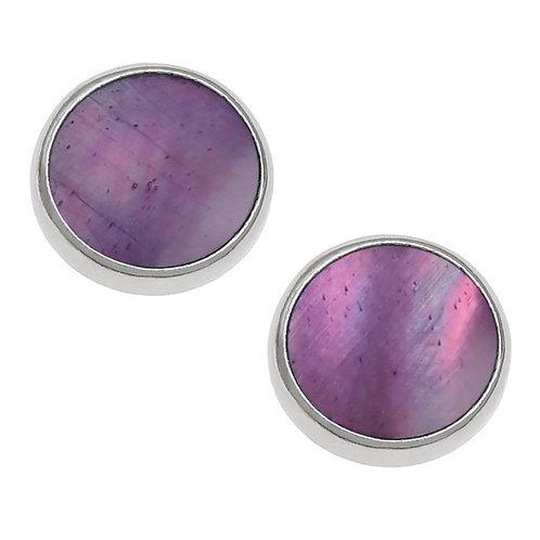 Round stud earrings ~ purple mother of pearl