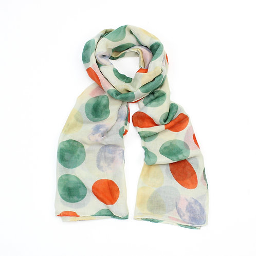 Large spotty scarf ~ green