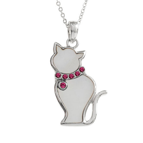 Cat pendant with inset stones collar & chain