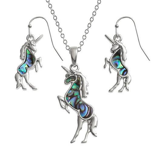 Unicorn pendant & earring set
