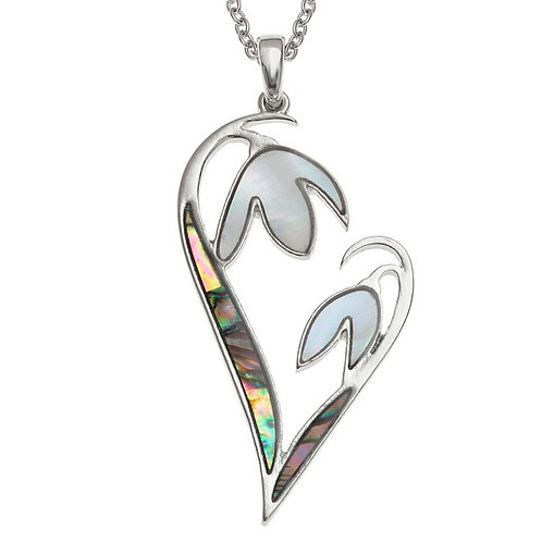 Snowdrop flower heart pendant & chain