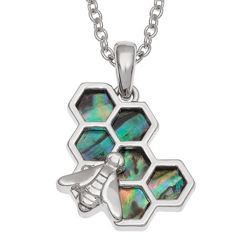 Honeycomb Bee pendant & chain