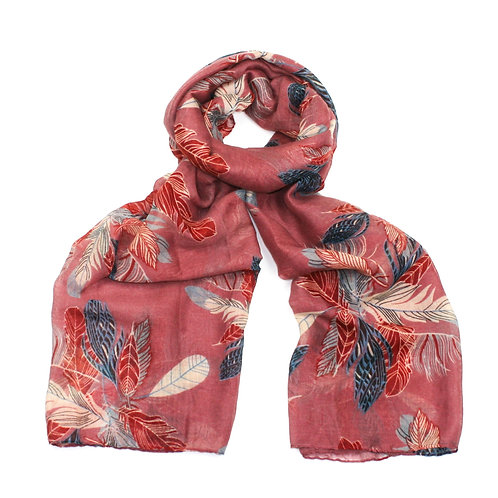 Feather print scarf ~ pink
