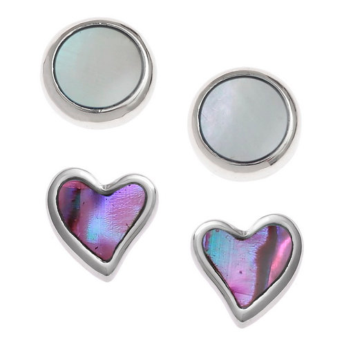 Heart & round stud earring set