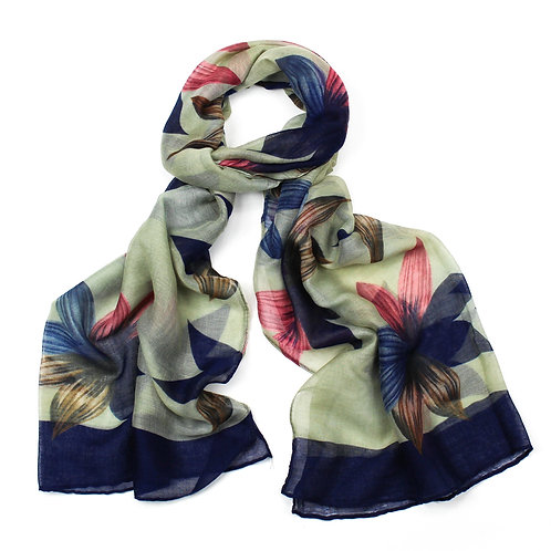 Large flower print scarf ~ green