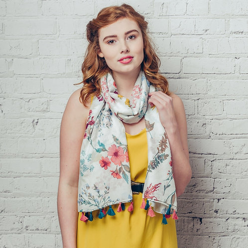 Olivia ~ floral print scarf with tassels