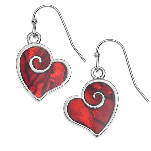 Red Heart Swirl hook earrings