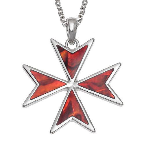 Red Maltese cross pendant & chain