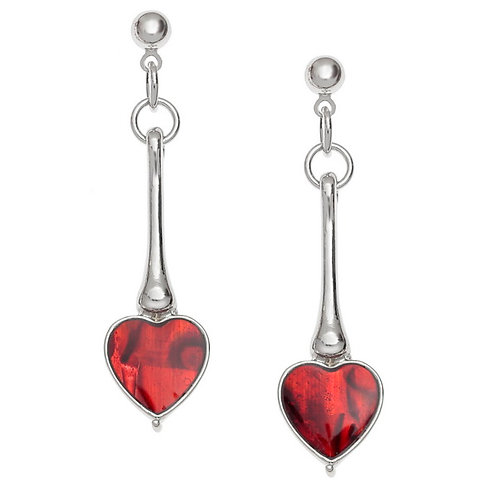Long heart drop stud earrings - red