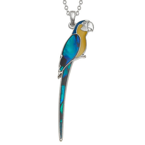 Perched Macaw pendant & chain