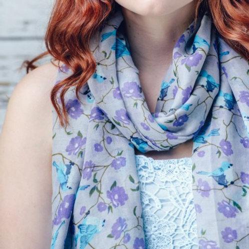Bird & flower print scarf