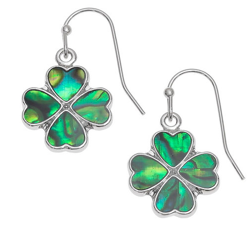 Four leaf clover hook earrings