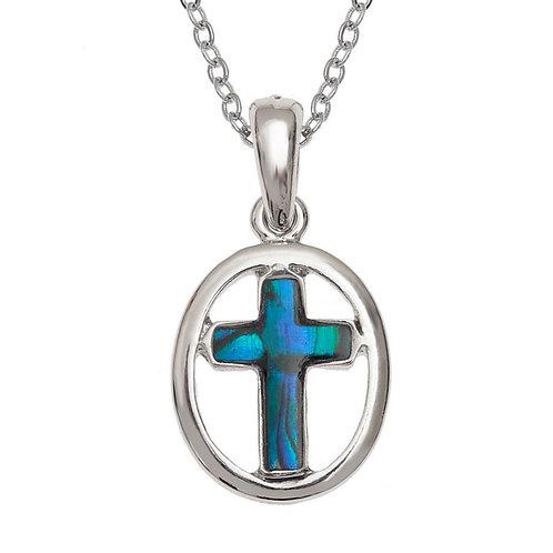 Circular pendant & chain - blue