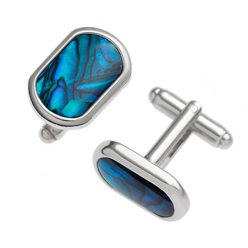 Rounded rectangle cufflinks - blue