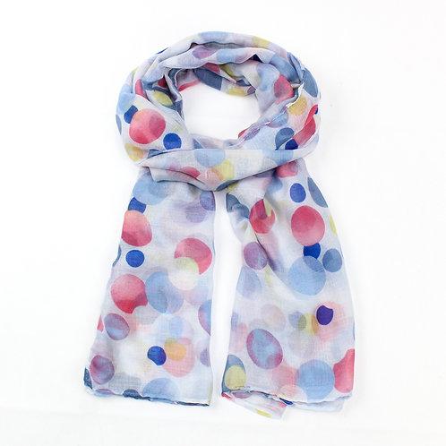 Fun spot print design scarf ~blue