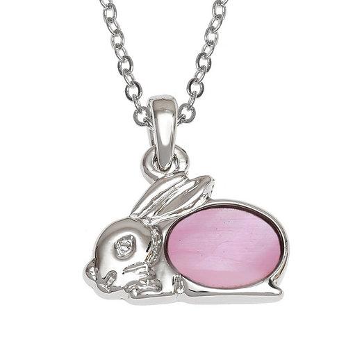 Rabbit pendant & chain - pink
