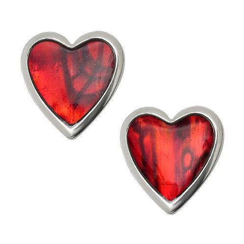 Heart stud earrings ~ red