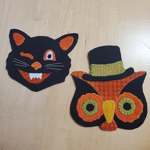 Vintage Cat and Owl Ornaments