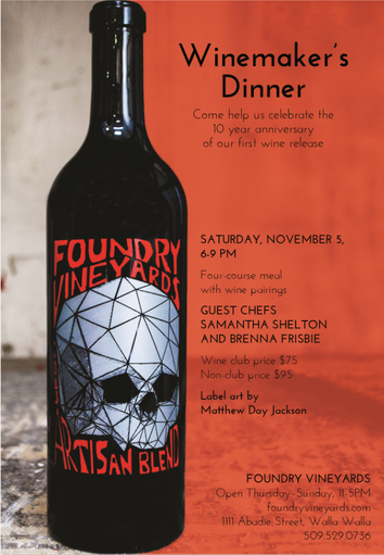 November 5th: Winemaker's Dinner