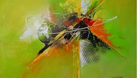 "24""x 36""Original Key Lime Modern Painting"