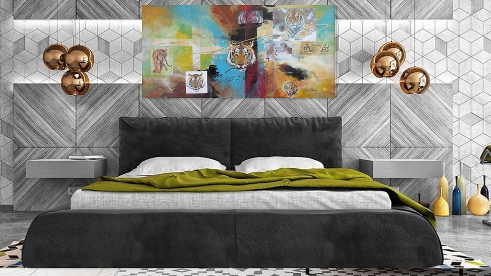 """Tiger Action 24"""" x 48"""" 70% Reduced To Sell"""