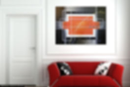 beautyful geometric shapes in gray shapes, white and orange