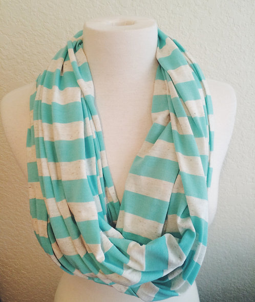 Mint To Be Striped Infinity Scarf, Mint/Cream