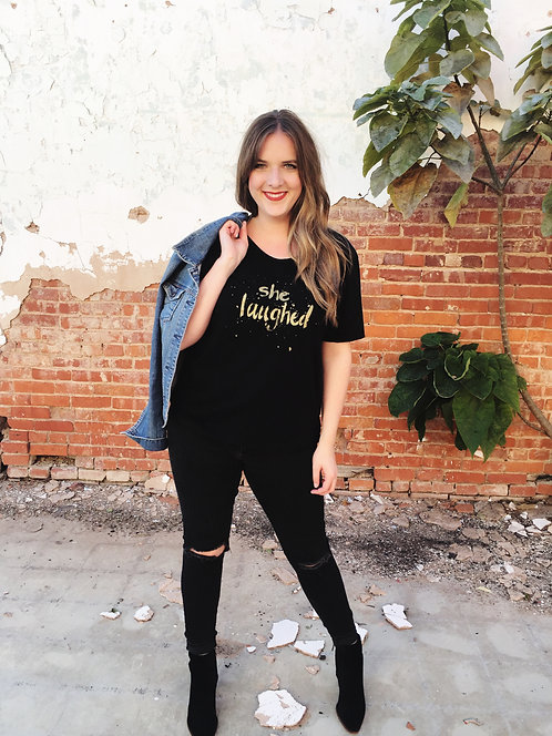 She Laughed Tee, Black/Gold