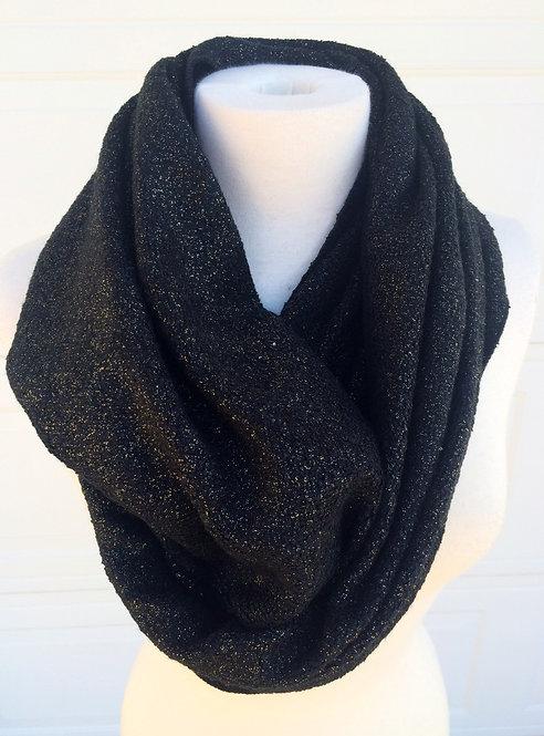 Stay Warm in Glitter Infinity Scarf, Black/Gold