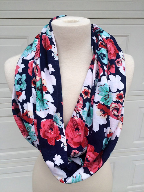 Fun in Floral Infinity Scarf, Large Print