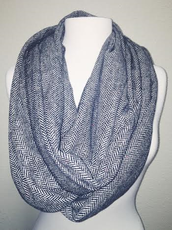 Stay Warm Herringbone Infinity Scarf, Black/White