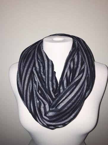 Falling for Stripes Infinity Scarf, Black/Grey