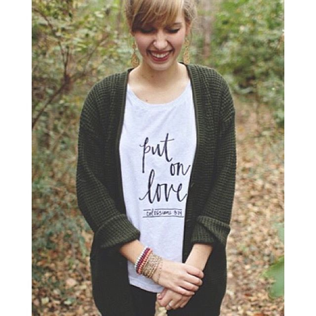 Instagram - Grab our best selling Put On Love tee! Perfect for cardi weather! 🍂