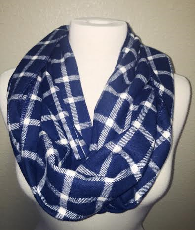 Plaid Is Everything Infinity Scarf, Navy/White