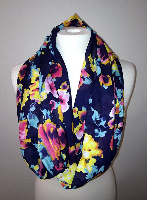 Fall for Floral Infinity Scarf, Navy