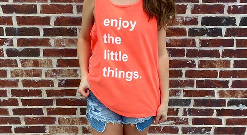 enjoy the little things tank, neon red orange