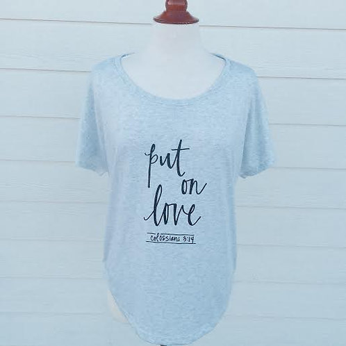 """Put on Love"" Tee in Heather White"