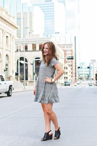 Stripe Godet Dress