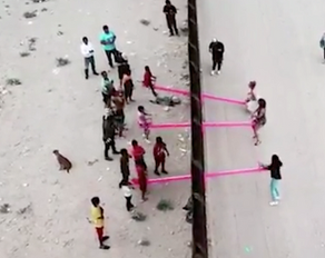 Artists installed seesaws at the border so kids in the US and Mexico could play together