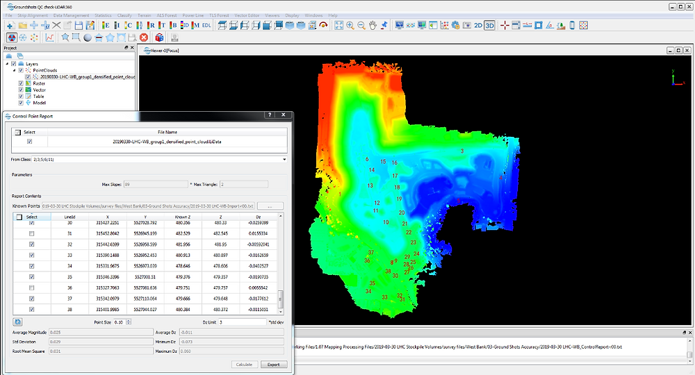 Screen shot of software as the 3D point cloud is compared to terrestrial GPS control data to produce a quality report