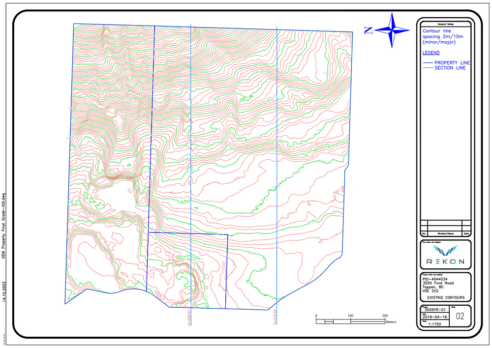 Contour map produced from LiDAR scan of vegetated property