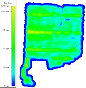 Heat map for point density of Drone LiDAR mapping area