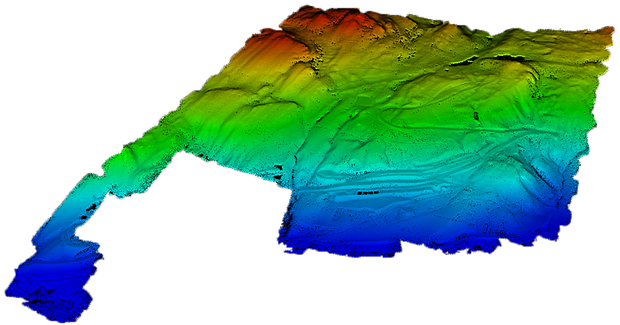 LiDAR point cloud filtered down to just ground points