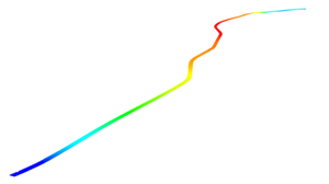 Final 3D point cloud of 3.5-kilometer road scan with height color scale