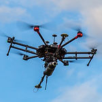 Drone LiDAR fying above ground