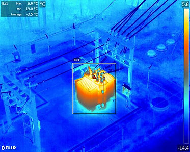 thermal image from the air of transformer