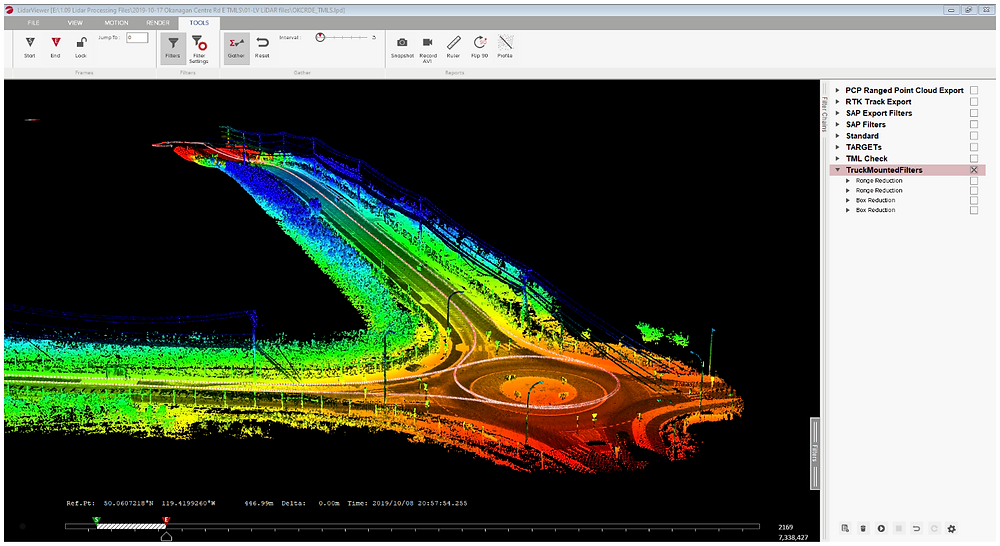 Georeferenced 3D point cloud with trajectory in LidarViewer software (by Rekon)