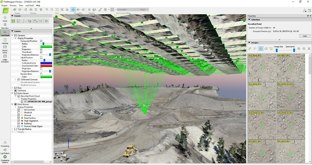 Screen shot of a photogrammetry job being processed
