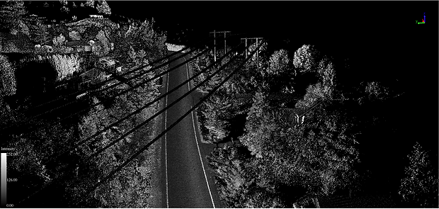 LiDAR road scan of road, buildings, and trees
